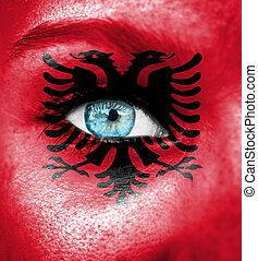 γυναίκα αντικρύζω , απεικονίζω , με , σημαία , από , αλβανία