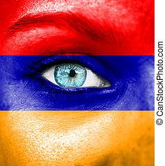γυναίκα αντικρύζω , απεικονίζω , με , σημαία , από , αρμενία