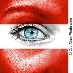 γυναίκα αντικρύζω , απεικονίζω , με , σημαία , από , αυστρία