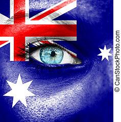 γυναίκα αντικρύζω , απεικονίζω , με , σημαία , από , αυστραλία