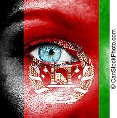 γυναίκα αντικρύζω , απεικονίζω , με , σημαία , από , αφγανιστάν