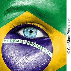 γυναίκα αντικρύζω , απεικονίζω , με , σημαία , από , βραζιλία