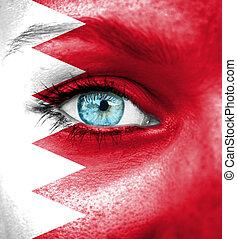 γυναίκα αντικρύζω , απεικονίζω , με , σημαία , από , μπαχρέιν