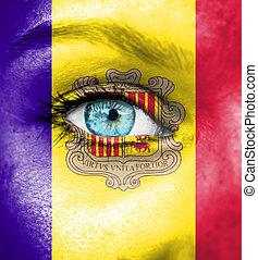γυναίκα αντικρύζω , απεικονίζω , με , σημαία , από , andorra