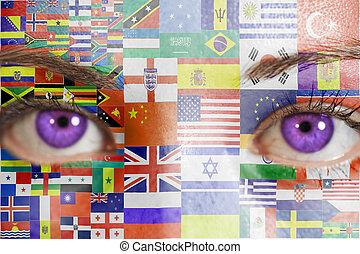 γυναίκα αντικρύζω , με , απεικονίζω , σημαίες , όλα , άκρη γηπέδου , από , κόσμοs