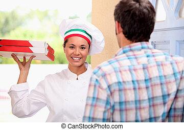 γυναίκα , απαλλάσσω , πίτα με τομάτες και τυρί