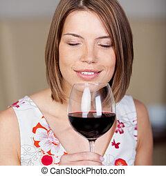 γυναίκα , απολαμβάνω , ελκυστικός , κόκκινο κρασί