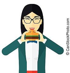 γυναίκα απολαμβάνω , hamburger.