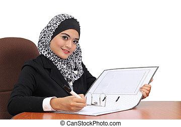 γυναίκα αρμοδιότητα , αυτήν , μουσελίνη , γράψιμο , σημειωματάριο