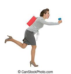 γυναίκα αρμοδιότητα , κύπελο , τρέξιμο , ντοσσιέ , βιασύνη