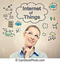 γυναίκα αρμοδιότητα , (iot), νέος , internet , αδυναμία , δραμάτιο