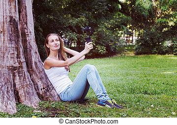 γυναίκα , αυτήν , ανάμιξη. , φωτογραφηκή μηχανή , όμορφη , δράση
