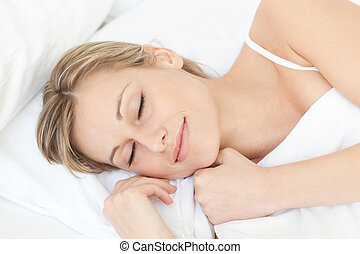 γυναίκα , αυτήν , κουρασμένος , κρεβάτι , κοιμάται , ευφυής