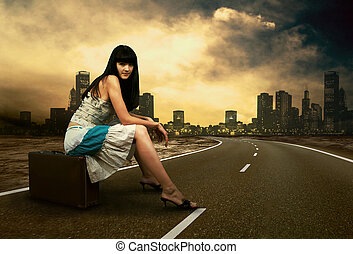 γυναίκα , αυτήν , κρασί , νέος , αποσκευές , αναμονή , ...