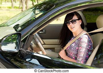 γυναίκα , αυτοκίνητο , πάνω , μελαχροινή , ελκυστικός , κλείνω