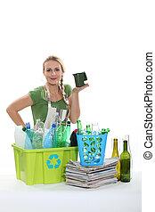 γυναίκα , βαθμός , διαμέσου , ο , ανακύκλωση