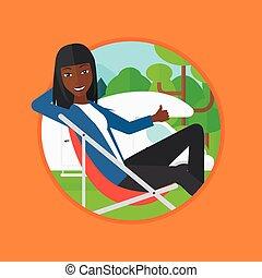 γυναίκα βαρύνω , κατασκηνωτής , αντιμετωπίζω , καρέκλα , van.