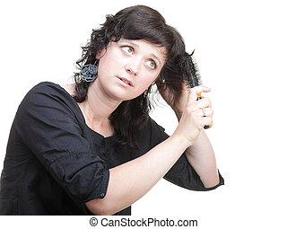 γυναίκα , βούρτσα μαλλιών , απομονωμένος
