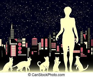 γυναίκα , γάτα