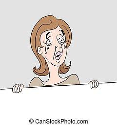 γυναίκα , γελοιογραφία , κλαίων