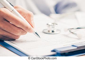 γυναίκα γιατρός , πλήρωση , ιατρικός , μορφή , επάνω , clipboard