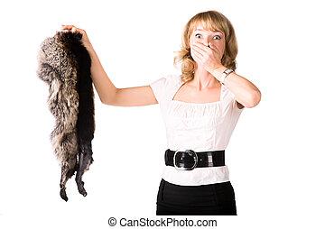 γυναίκα , γούνα , αγριομάλλης , κράτημα , γδέρνω