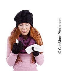 γυναίκα , γρίπη , ψεκάζω , αδιάθετος , αγγίζω , χαρτομάντηλο
