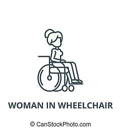 γυναίκα , γραμμικός , άνθρωποι , γενική ιδέα , αναπηρική καρέκλα , ακινητοποιώ αναχωρώ , μικροβιοφορέας , εικόνα , γραμμή , σύμβολο , περίγραμμα