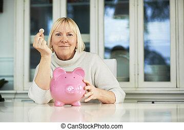 γυναίκα , γριά , εκδήλωση , κουμπαράς, επινοώ , euro