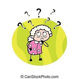 γυναίκα , γριά , - , σύγχυσα , εικόνα , μικροβιοφορέας , γιαγιά , γελοιογραφία