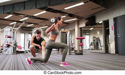 γυναίκα , γυμναστήριο , barbell , κοχύλι , διπλώνω , άντραs