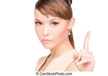 γυναίκα , δάκτυλο , αυτήν , πάνω