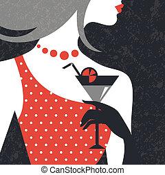 γυναίκα , διαμορφώνω διάταξη , silhouette., όμορφος , διαμέρισμα