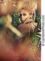 γυναίκα , διατυπώνω , ελκυστικός , ξανθή , ζούγκλα
