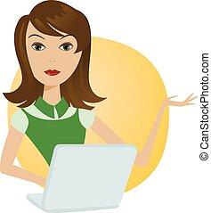 γυναίκα , δούλεμα ακολουθία , laptop , μικρόs φορήτοs υπολογιστήs