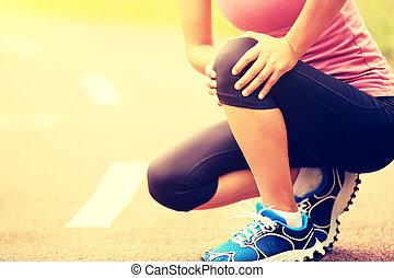 γυναίκα , δρομέας , γόνατο , αδικώ , αθλητισμός