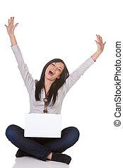 γυναίκα , επιτυχής , laptop , ανώριμος ατενίζω , μπροστά