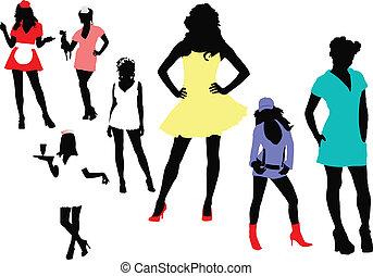 γυναίκα , επτά , silhouettes., il , μικροβιοφορέας