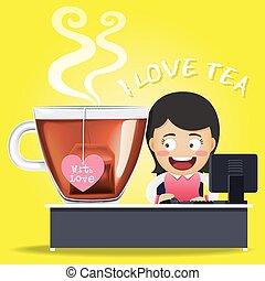 γυναίκα , εργαζόμενος , κύπελο , τσάι , ηλεκτρονικός υπολογιστής , μεγάλος