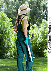 γυναίκα , εργαλεία , κήπος