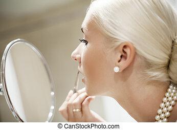 γυναίκα , εφαρμοσμένος , dof, (shallow, εστία , διαρρύθμιση , eye)