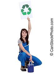 γυναίκα , ζωγράφος , κράτημα , σήμα , με , σύμβολο , από , ανακύκλωση