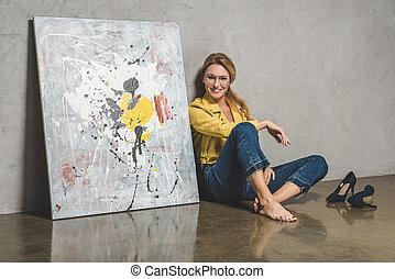 γυναίκα , ζωγραφική , κάθονται