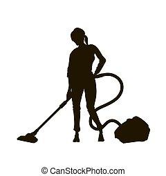γυναίκα , ηλεκτρική σκούπα , κορίτσι , καμαριέρα , κενό , cleaner., απομονωμένος , κενό , δωμάτιο , μαύρο , καθάρισμα , homework., νοικοκυρά , περίγραμμα , floor.