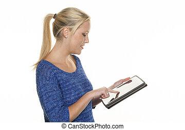 γυναίκα , ηλεκτρονικός υπολογιστής , δισκίο
