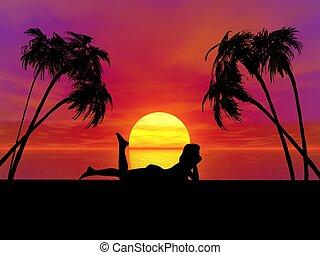 γυναίκα , ηλιοβασίλεμα