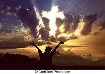 γυναίκα , θεός , ουρανόs , σταυρός , ελαφρείς , εκλιπαρώ , διάπλαση , ακτίνα