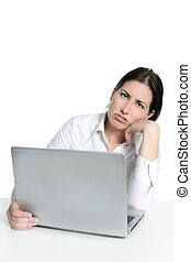 γυναίκα , θυμωμένος , άθυμος , ηλεκτρονικός υπολογιστής , βαριεστημένα , laptop