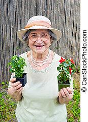 γυναίκα , κήπος , κράτημα , αρχαιότερος , λουλούδια , ευτυχισμένος