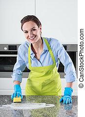 γυναίκα , καθάρισμα , τραπέζι κουζίνας
